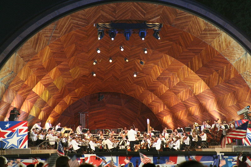 The Boston Pops Esplanade Orchestra performing at the Hatch Shell in Boston. Image: Garrett A. Wollman Made available by permission of the photographer.