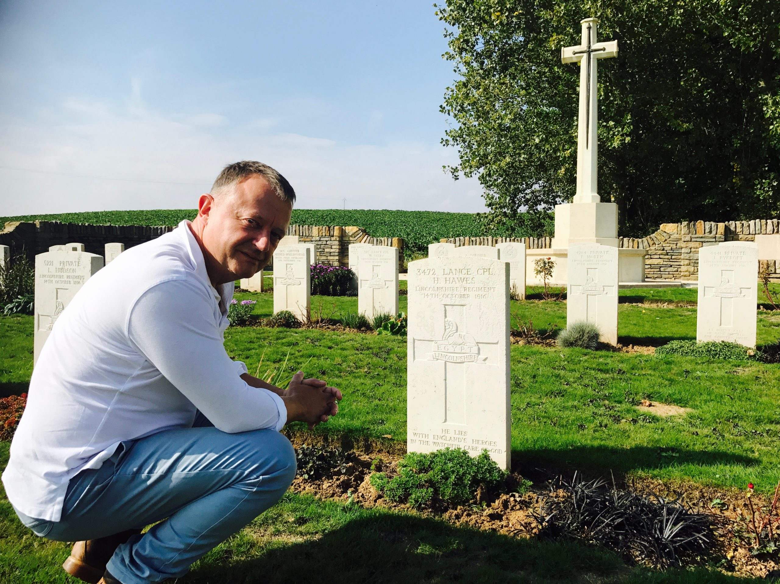 Patrick Hawes visits the grave of his great-uncle